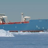 Aframax tanker in ice, copyright Aker Arctic