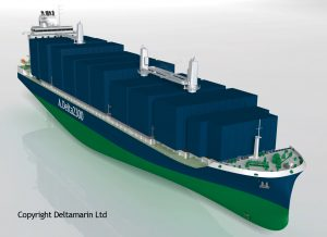 2,300 TEU container feeder concept, one of the platforms in the LNG cooperation project between Deltamarin and GTT.