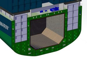 A section view of the membrane fuel tank concept.